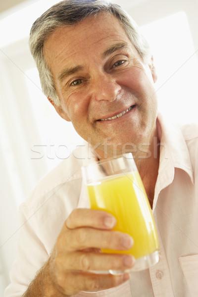 ストックフォト: オレンジジュース · 男 · ホーム · 肖像