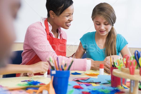 Foto stock: Escola · primária · arte · classe · professor · mulher · menina