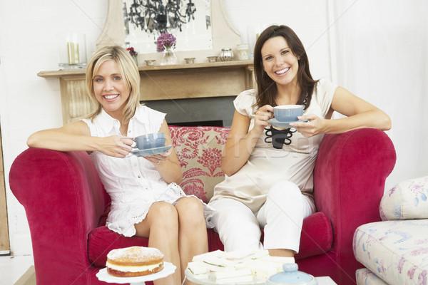 Female Friends Enjoying Tea And Cake At Home Stock photo © monkey_business