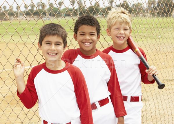 Foto stock: Jóvenes · ninos · béisbol · equipo · ninos · nino