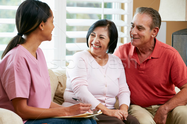 Nurse Making Notes During Home Visit With Senior Couple Stock photo © monkey_business