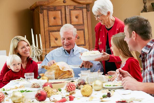 Natale pasto famiglia ragazza Foto d'archivio © monkey_business