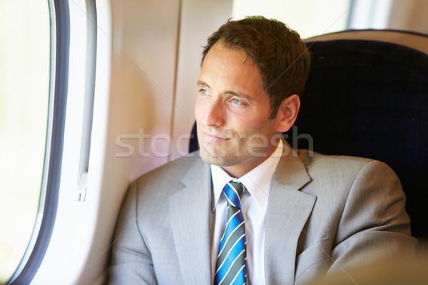 ビジネスマン リラックス 列車 旅 男 男性 ストックフォト © monkey_business