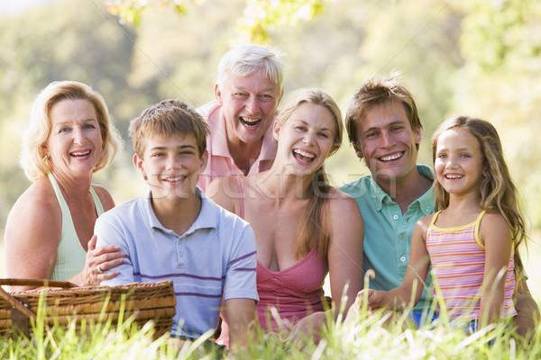 Foto stock: Familia · picnic · sonriendo · hombre · Pareja · grupo