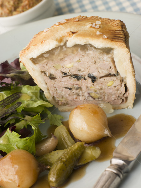 Pork Black Truffle and Pistachio Pie with Glazed Button Onions a Stock photo © monkey_business