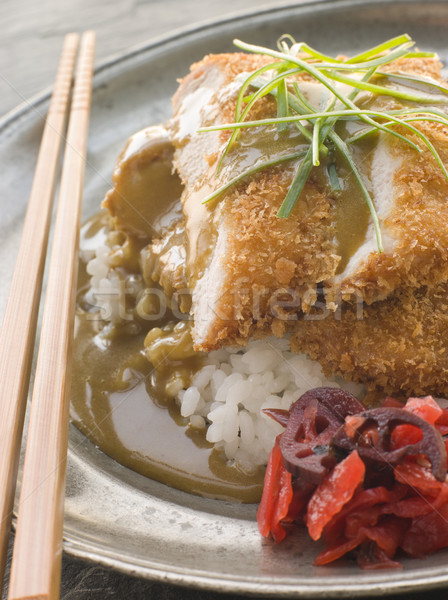 Stock photo: Plated Tonkatsu with Vinegar Rice, Curry Sauce and Pickled red R