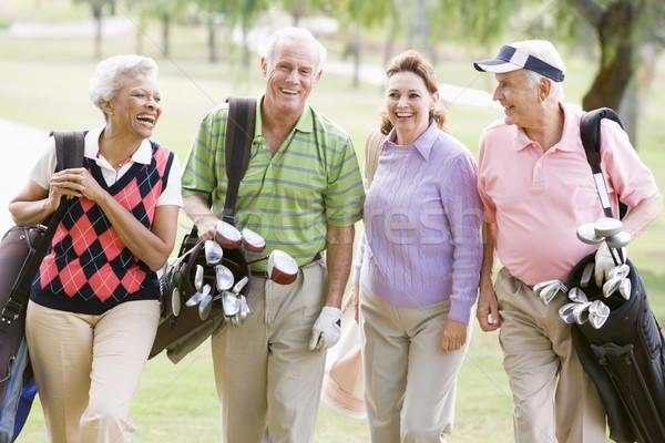 Сток-фото: портрет · четыре · друзей · игры · гольф