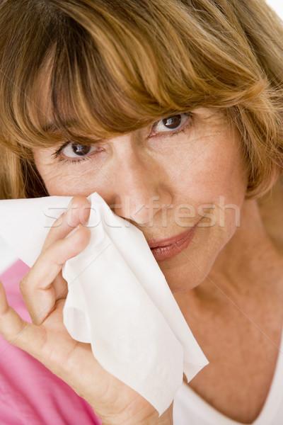 Foto stock: Mulher · assoar · o · nariz · saúde · doente · frio · cor