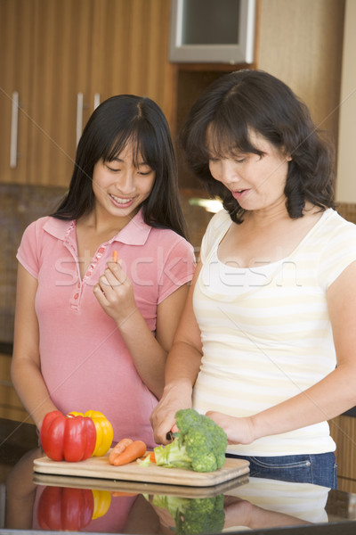 Mother And Daughter Preparing meal,mealtime Together Stock photo © monkey_business