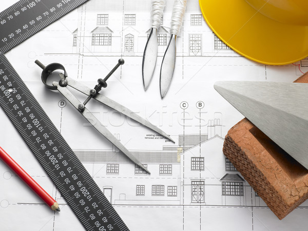 Building Equipment On House Plans Stock photo © monkey_business