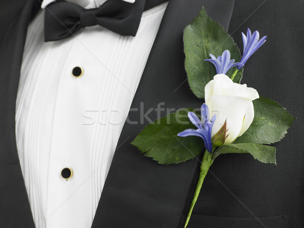 Man Wearing A Suit With A White Rose Corsage Stock photo © monkey_business