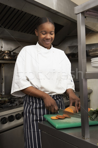 Zdjęcia stock: Kobiet · kucharz · warzyw · restauracji · kuchnia · żywności