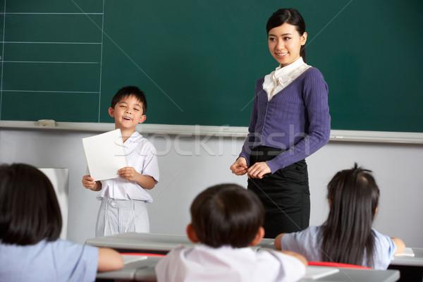 Zdjęcia stock: Nauczyciel · stałego · tablicy · chińczyk · szkoły · klasy