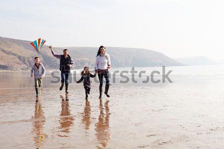 Aile yürüyüş plaj piknik sepeti kadın Stok fotoğraf © monkey_business