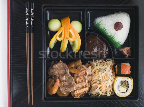 ételhordó doboz evőpálcikák lövés étel tányér belső Stock fotó © monkey_business