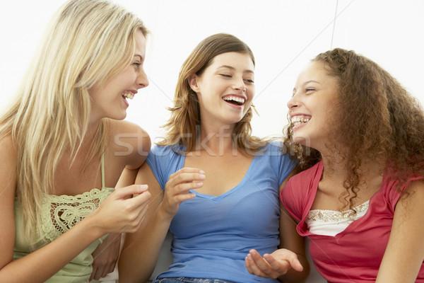 Feminino amigos risonho juntos mulheres falante Foto stock © monkey_business