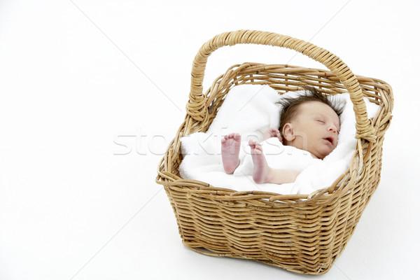 Newborn Baby Sleeping In Basket Stock photo © monkey_business
