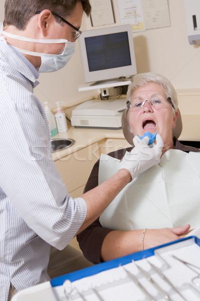Foto stock: Dentista · exame · quarto · mulher · cadeira · sorrir