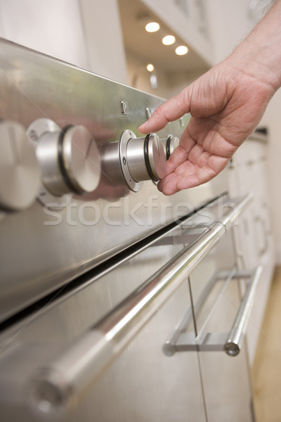 Hand kachel bellen keuken handen man Stockfoto © monkey_business