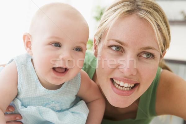 Anya nappali baba mosolyog portré együtt Stock fotó © monkey_business