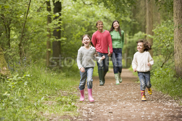 Family walking on path holding hands smiling Stock photo © monkey_business