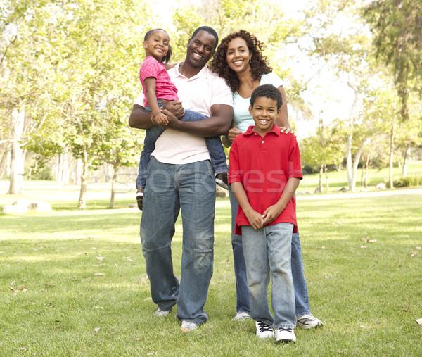 Foto stock: Família · andar · parque · crianças · homem