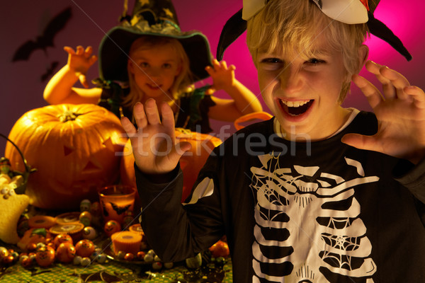 Halloween party with children wearing scaring costumes Stock photo © monkey_business