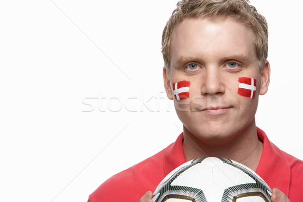 Young Male Football Fan With Danish Flag Painted On Face Stock photo © monkey_business