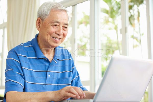Stockfoto: Senior · chinese · man · vergadering · bureau · met · behulp · van · laptop