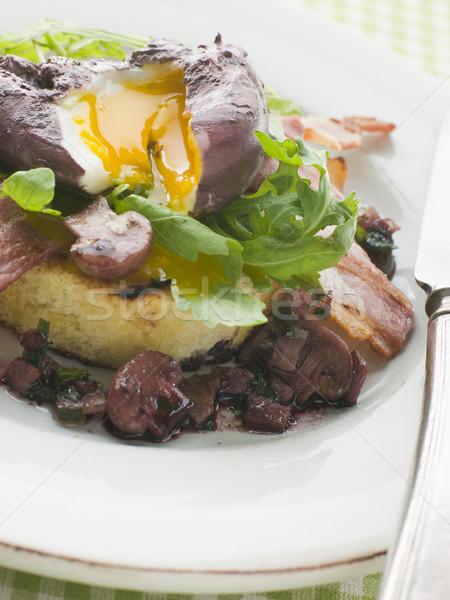 赤ワイン 卵 ベーコン 焼いた ワイン パン ストックフォト © monkey_business