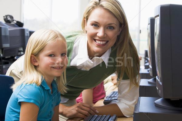 Teacher helping kindergarten children learn how to use computers Stock photo © monkey_business