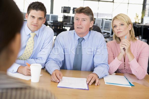 Foto stock: Stock · entrevista · negocios · mujer · hombres · de · trabajo