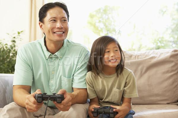 Syn ojca gry gra komputerowa domu dziecko chłopca Zdjęcia stock © monkey_business