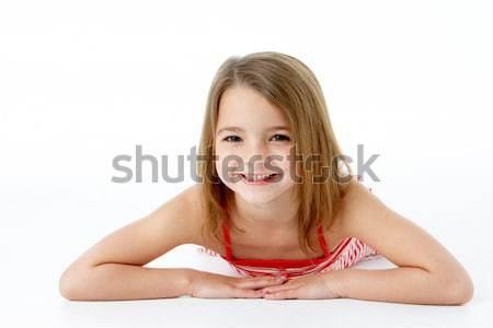 Stockfoto: Jong · meisje · maag · studio · meisje · kinderen · gelukkig