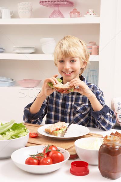 Boy Making Sandwich In Kitchen Stock photo © monkey_business
