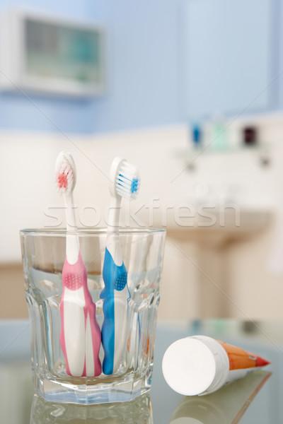 Foto stock: Creme · dental · crianças · azul · limpar · rosa · fresco