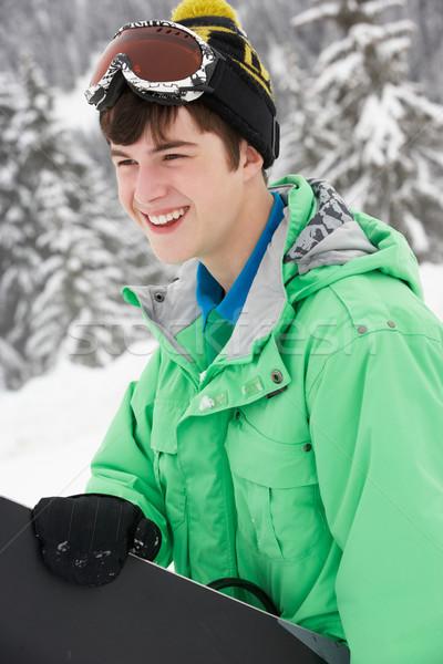 Snowboard esquiar férias montanhas feliz Foto stock © monkey_business