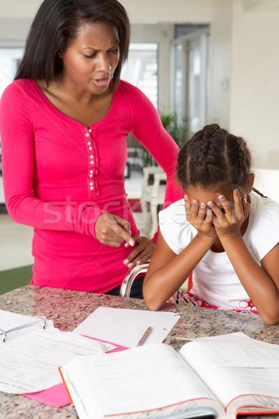 Mérges anya el lánygyermek házi feladat család Stock fotó © monkey_business