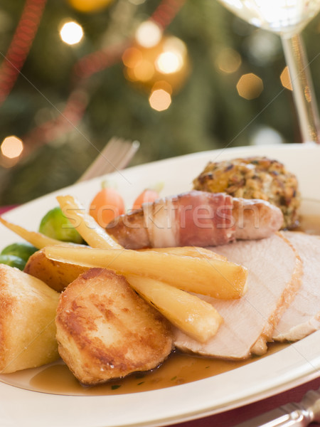Traditional Roast Turkey with trimmings Plated Stock photo © monkey_business