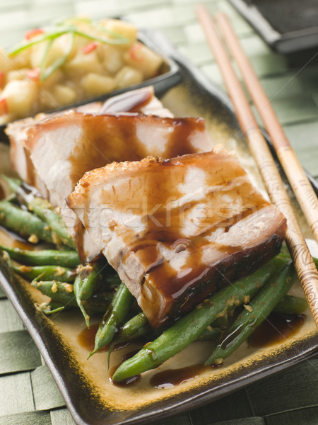 Roast Belly Pork with Fuji Apples and Peanut Beans Stock photo © monkey_business