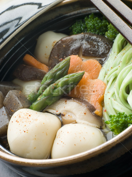 Fish Ball Stew Pot with Vegetables and Spinach Noodles Stock photo © monkey_business