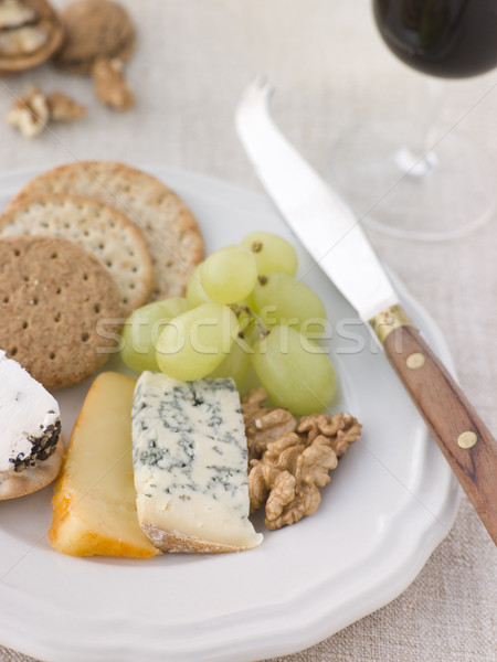 Plate of Cheese and Biscuits with a Glass of Port Stock photo © monkey_business