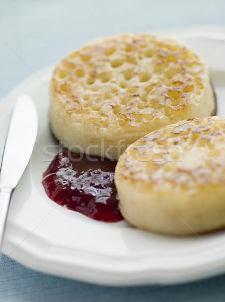 Tereyağı reçel gıda plaka bıçak kahvaltı Stok fotoğraf © monkey_business