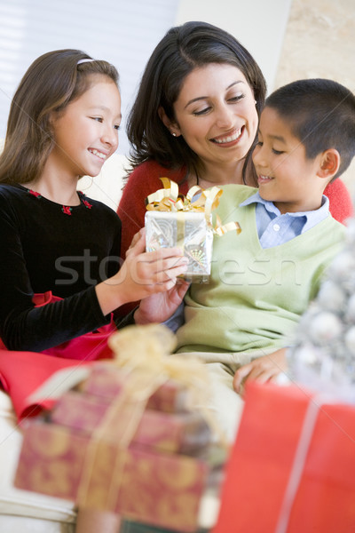 Mother Sitting With Her Son And Daughter,Exchanging Christmas Gi Stock photo © monkey_business