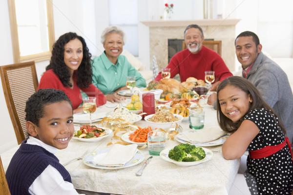 Foto stock: Família · juntos · natal · jantar · mulheres