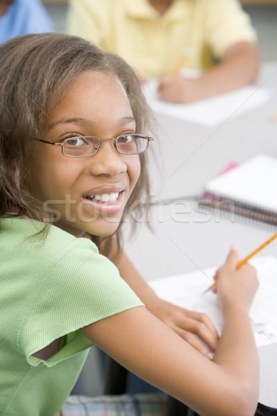 Zdjęcia stock: Szkoła · podstawowa · pracy · biurko · dziewczyna · dzieci · dziecko