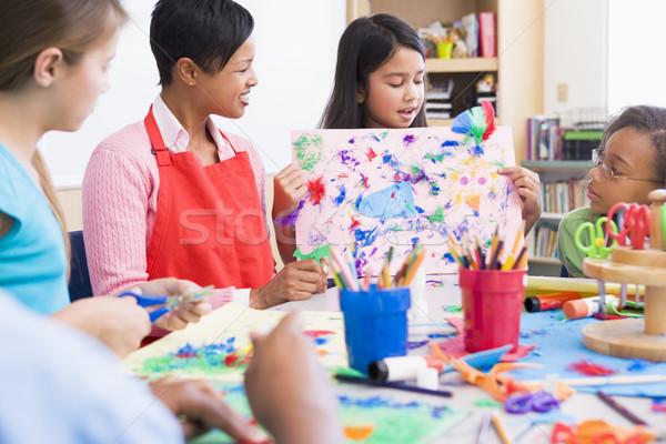 Foto stock: Escola · primária · arte · classe · quadro · mulher