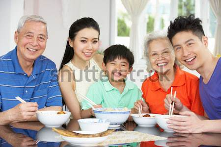 Família almoço juntos shopping menina café Foto stock © monkey_business