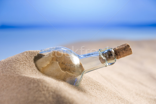 Photo stock: Un · message · bouteille · sable · note · idée · couleur