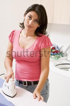 Mulher jovem em pé banheiro em para cima casa Foto stock © monkey_business